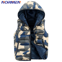 Wholesale Camouflage Waistcoat - Wholesale- 2017 Brand Clothing Men's Fashion Vest Camouflage Waistcoat For Men Hooded Outerwear Unisex Streetwear NORMEN Drop Shipping