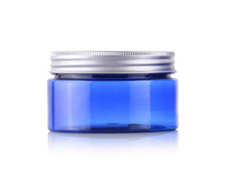 Wholesale Cream Pet Packages - Brand new 100g round blue color empty Plastic Cream mask PET bottles jars containers for cosmetic packaging skin care cream tin 100ml