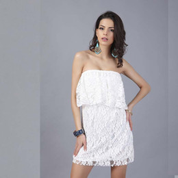 Wholesale Women Clothing Outlets - Free Size party dresses female sexy White lace Short dress Outlet Beachwear Women's Clothing Free Shipping