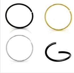 Canada LOT100 pcs boby bijoux en acier chirurgical 316L 18GX6 / 8 / 10mm Nez Hoop Anneaux Nez Boucle d'oreille Bijoux Piercing Corps Offre