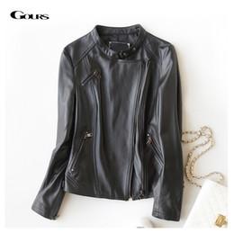 Wholesale Sheepskin Coats Women - Wholesale- Gours Fashion Genuine Leather Jackets for Women Spring Classic Short Motorcycle Jacket Black Punk Style Ladies Sheepskin Coats