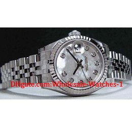 наручные часы для дам Скидка Новые приходят роскошные часы бесплатная подарочная коробка наручные часы дамы WhiteGold-SS Pearl Diamond 179174