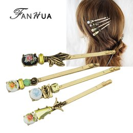 Wholesale Hair Flower Patterns - FANHUA 4pcs set Hair Jewelry Vintage Style Antique Gold-Color Colorful Flower Pattern Barrettes Hairwear Hair Accessories