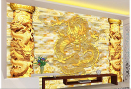 Wholesale Wallpaper Golden - 3d wallpaper custom photo Non-woven mural Golden China Dragon Relief column decor painting picture 3d wall muals wall paper for walls 3 d