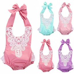 Wholesale Purple Onesies - Newborn Baby Girl boutique clothes Floral Rompers roupas Lace Jumpsuits Overalls Infant Toddler Ruffle little GirLs Bodysuit Outfit onesies
