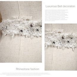 Wholesale Sparkle Belt Wedding Dress - Real Image Sparkling Rhinestone Sash Bridal Delicate Sequins Beaded Wedding Belt Bow Creamy White Wedding Dress Belts