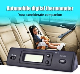 Wholesale Thermometer For Vehicles - Wholesale- DS - 1 Digital Thermometer Auto LCD Display In Out Clock for Car Home Vehicle Drop Shipping