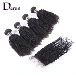 Wholesale Quality Remy Hair - Virgin Hair Extension High Quality Top Closure 4pcs+1pc Kinky Curly Remy Hairs Peruvian Human Hair With Closure Hair Weave Can Be Dyed