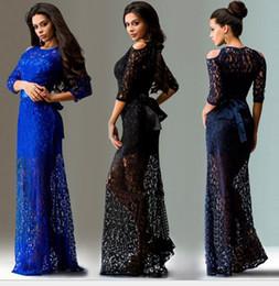 Wholesale Dresse Women - 2017 Women Maxi Dresses Lace Plus Size Elegant Empire Half Sleeve Bow Hollow Out Slim Evening Dresse Black Blue 170216-18
