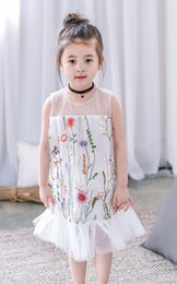 Wholesale Kids Lace Tank Tops - Girls tank top dresses gauze lace embroidery backless princess dress for children splicing tulle falbala dress summer kids clothes T2498