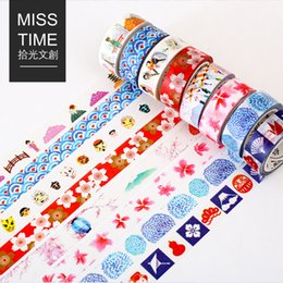 Wholesale Deco Labels - Wholesale- 2016 15mm*8m Deco Tape Japansese Stationery Washi Tape Flower Cute Masking Tape DIY Scrapbooking Sticker Adhesive Paper Label