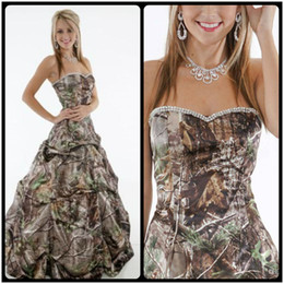 Wholesale Camo Evening Gowns - Custom Made Plus Size 2017 Cheap Strapless Sweethart Beading Camo Prom Dresses Long Evening Party Formal Gowns 2018
