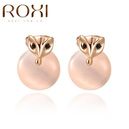 Wholesale Czech Earrings - ROXI Party Jewelry Gift Stud Earrings Cute Design Paunchy Fish Shaped Rose Gold Color Czech Stone Filled Opal Earrings For Girls