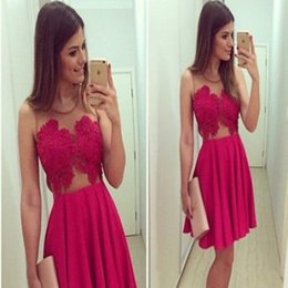 Wholesale Teenage Girls Sexy - Hot Sale Red Short Lace Homecoming Dresses Sleeveless Sheer Neck Zipper Sexy Prom Party Dresses Evening Wear For Teenage Girls Custom Made