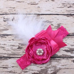 Wholesale Feather Diamond Headbands Wholesale - Baby Girls Lace Headbands Kids Girl Flower Bow Headband 2017 Infant Princess Diamond Feather Headband Children Hair Accessories Photo Props