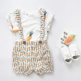 Wholesale T Shirt Suspender Trousers - 2017 new carrot Print Children Outfit boys girls Sets cotton T-Shirt +suspender trousers shorts Bread pants Best Suits Child Clothing A699