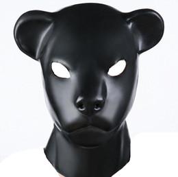 Wholesale Adult Leopard Masks - Hot Sex role playing New male female Soft latex bondage leopard head Mask Headgear Hood Adult BDSM toys game set