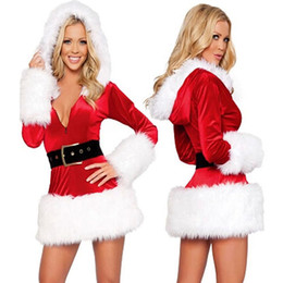 Wholesale Miss Santa Costumes - 2 Color Classic Sexy Miss Santa Claus Costume Fantasy Women Hood Dress+Hat+Belt Performance Party Christmas Outfit