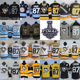 Wholesale Mens 87 - 2017 Stanley Cup Final Champion Patch Mens Pittsburgh Penguins 87 Sidney Crosby with C Patch Home Away Third Wholesale Ice Hockey Jerseys