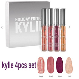 Wholesale Metal Holiday - In stock Kylie Jenner holiday collection lip kit 4pcs set Metal Matte lipstick kylie holiday lip gloss free shipping