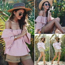Wholesale Pink Ruffle Blouse Top - Striped Off Shoulder Blouse Ruffle Sexy Beach Shirt 2017 Casual Femme Women Flare Sleeve Tops and Blouses Black Pink Blue JY10885
