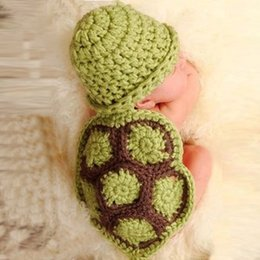 Wholesale Turtle Outfit Baby - 2015 New Arrival Baby Girl Boy Clothing Newborn Turtle Knit Crochet Clothes Beanie Hat Outfit Photo Props
