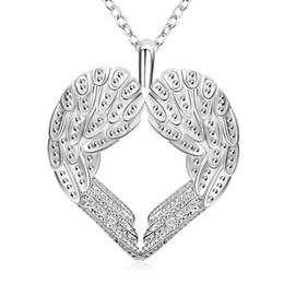 Encantos de la moda Heart Angel Wings Colgantes Collares Mujeres Silver Filled Jewelry Long 18inches Cadenas Gargantillas Necklace Womens desde fabricantes