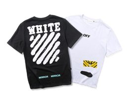 Wholesale Graffiti Shirt White - European and American fashion brand OW Luhan with painting graffiti letters behind the oblique striped short sleeved T-shirt and paint