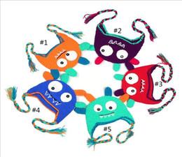 Búho de punto de los niños online-5 Opciones de estilo Toddler Owl Ear Flap Crochet Hat Niños hechos a mano OWL Beanie Hat Beanie Kids Hand Knitted Hat