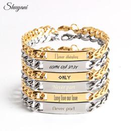 Wholesale Bracelets For Men Engrave - Customized Engrave Name ID Bracelets & Bangles Personalized Custom Logo Letters Stainless Steel Bracelet For Women Men