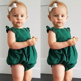 Wholesale Baby Sunsuit - INS New Baby Girls Clothes Romper Newborn Toddler Ruffle Onesies Fly Sleeve Kids Fakbaka Bow Climb Jumpsuit Playsuit Kid Sunsuit Girl Outfit