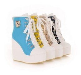 Wholesale High Heel Sneakers Yellow - New arrival Buckle Lace Up Wedge Women'S High Heels Platform Boots Sneakers Shoes Plus Size