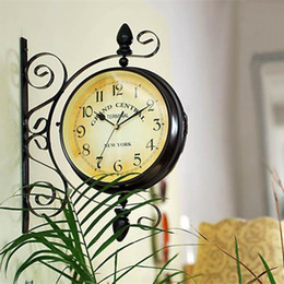 Wholesale Double Hung - Wholesale-Vintage Decorative Double Sided Metal Wall Clock Antique Style Station Wall Clock Wall Hanging Clock