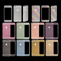 Wholesale Iphone Glitter Sticker Skins - Glitter Powder Full Body Sticker For iPhone 7 6 Plus 5 5S Samsung S7 S6 Edge NOTE 5 J5 A7 A8 Front+ Back+ Sides Bling Skin Protector