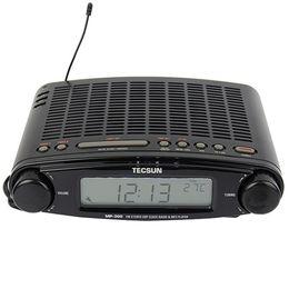 Wholesale Mp3 Player Alarm Clock Radio - Wholesale-TECSUN MP-300 FM Stereo DSP Radio USB MP3 Player Desktop Clock ATS Alarm