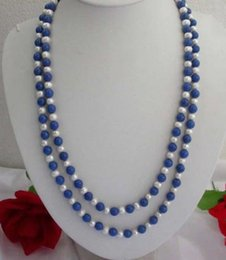 """Wholesale Lapis Pearl Jewelry - free shipping >>> Long 50"""" 7-8MM Natural White Pearl   Lapis Lazuli Round Beads Jewelry Necklace"""