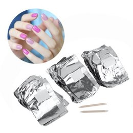 Wholesale Aluminium Wrap - 100pcs Aluminium Foil Nail Art Soak Off Acrylic Gel Polish Nail Removal Wraps Remover Nail Gel Cleaner Remover Makeup Tool +B