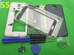 Wholesale Housing Full Case - Full Housing Case Middle Frame Rubber Seal Back Cover Glass Replacement Parts For Samsung Galaxy S5 G900 I9600 + 9 pcs tool