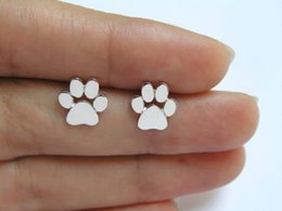 Wholesale Dogs Earring - 1Pair Silver Gold Rose Gold New Fashion Cute Paw Print Earrings for Women Cat and Dog Paw Stud Earrings