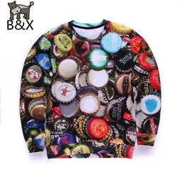 Wholesale Red Top Beer - Wholesale-Popular Beer cap design men 3d sweatshirt funny graphic hoodies punk long sleeve mens sweat shirt tops