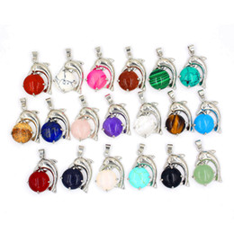 Wholesale Gem Mix Beads - musiling Jewelry The Dolphin Show Bead Pendants Natural Gem Stone Pendant Crystal Opal etc Stone Bead Charms Amulet Jewelry Mix Order