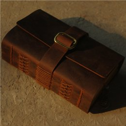 Wholesale Thick Notepad - Wholesale- Handmade cowhide leather notebook creative notepad diary doodle book Size: about 115mm *165mm * 50mm(thick)