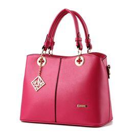 Wholesale Leather Bag Ladies Tassel Totes - 2017 new big bag female temperament sweet lady fashion handbag Messenger girl Soft Leather TopHandle shoulder bag