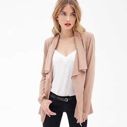 Wholesale Slim Blazer For Woman - 2017081430 Solid Color Women Coats Long Sleeve Notched Neck Split Back Blazer For Female Double Pockets Female Casual Blazer