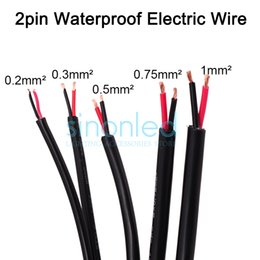 Wholesale Dc Cable Connectors - Wholesale-2pin waterproof electrical cable, 24 22 20 18 17 AWG extend PVC wire, for waterproof connector