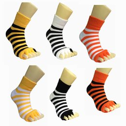 Wholesale Sleeping Massage Toe Socks - 2017 New Style Stripes Health Care Sleeping Socks,1Pair Colorful Sleeping Massage Five Toe Socks Fingers Separator Relaxing Your Toes