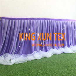 Wholesale Cheap Fabric For Cloth - White Color Ice Silk Table Skirt Witht Tutu Fabric For Table Cloth Decoration \ Cheap Wedding Table Skirting Free Shipping