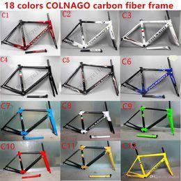 Wholesale Bike Frame 54 - 2017 HOTSALE 18 colors colnago C60 carbon road frames carbon frame 46 48 50 52 54 56cm T1000 carbon bike frames