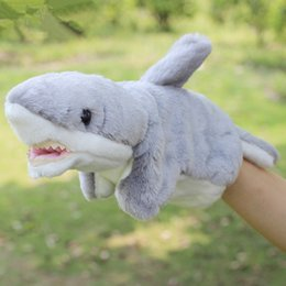 Wholesale Ocean Plush Toys - Wholesale- Ocean Fish Plush Hand Puppet Toys Puppet Plush Sea Shark Doll Toys For Kids Baby Birthday Christmas Gifts