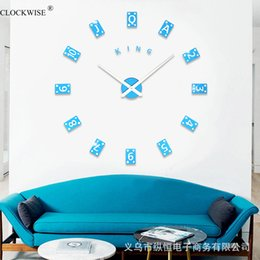 Wholesale King Style Briefs - Wholesale- 3D new product Mirror Wall Clock DIY Crystal Kitchen Clocks Home Decoration Reloj De Pared Poker King style Acrylic large size